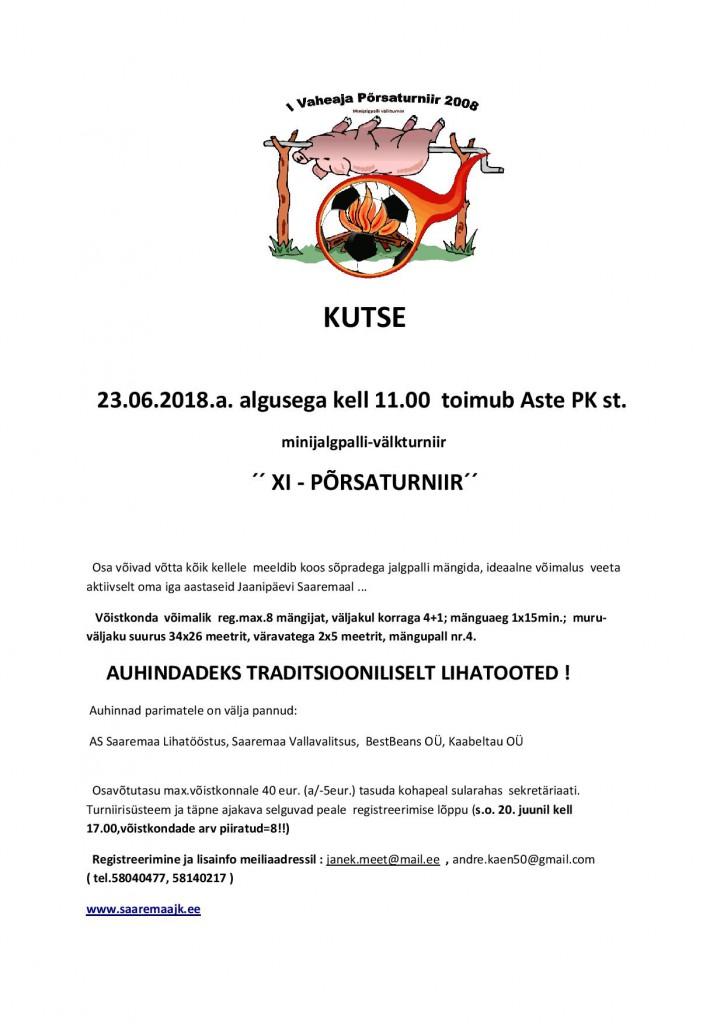 ´´ XI - PÕRSATURNIIR´´- minijalgpalli-välkturniir @ Aste Põhikool | Aste | Saare maakond | Eesti